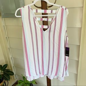 a.n.a. - Lightweight White Tank with Stripes